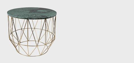 Dutchbone Green Marble Coffee Table with Geometric Base
