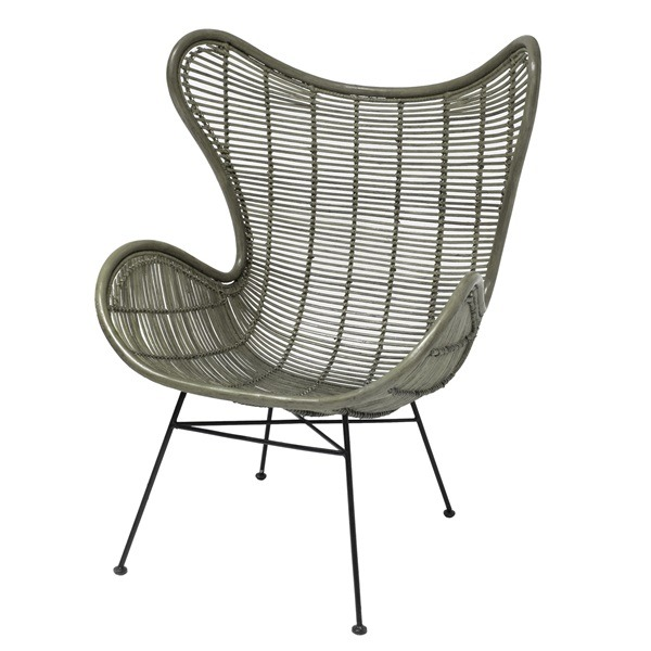 Rattan Egg Chair in green