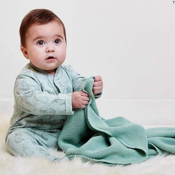 Wild Cotton Organic Baby Sleepsuit in Rabbit Design