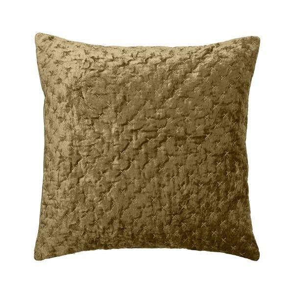 Velvet Embroidered Cushion in Mustard