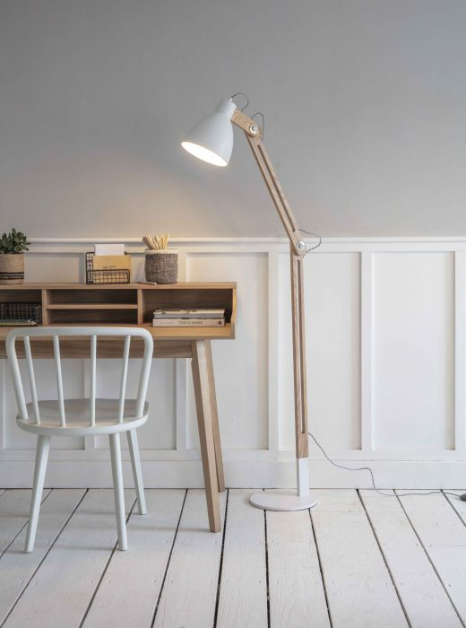 Elder Floor Lamp in Lily White - Steel and Rubber Wood - LAEL04