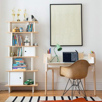 Oeuf Bookcase in White and Birch