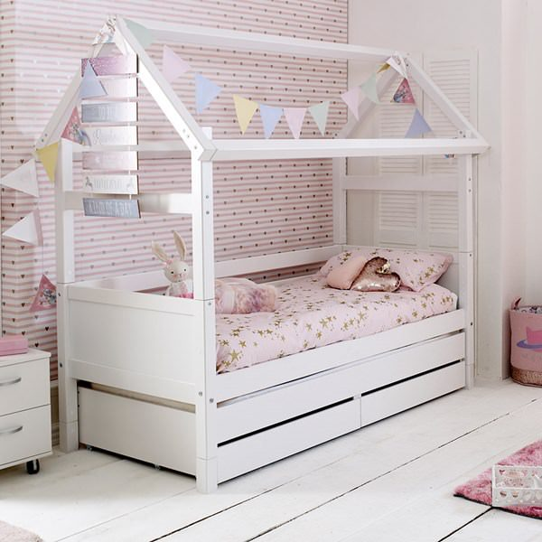Nordic-White-House-Cabin-Bed-with-Trundle-and-Drawers