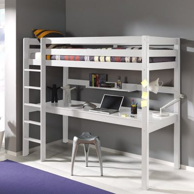Pino-Childrens-White-High-Sleeper-Bed-with-Large-Desk