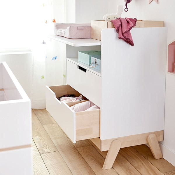 Baby Changing Unit and Junior Desk in White