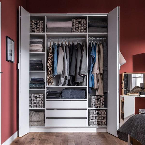 260cm Bi Fold 4 Door Wardrobe in White