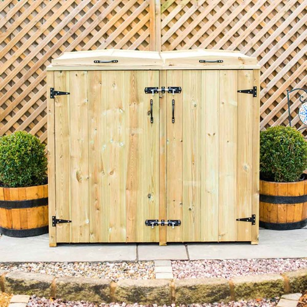 Superior Double Wooden Recycling Box Storage