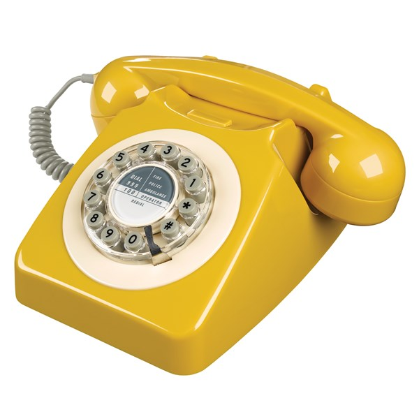 Retro Telephone in Mustard Yellow