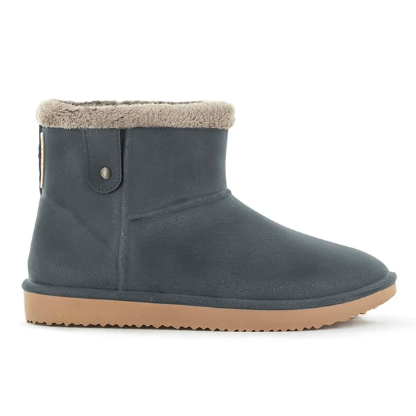 Waterproof Sheepskin Style Ladies Ankle Snug-Boot in Anthracite