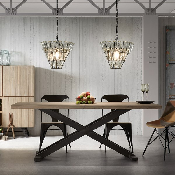 Industrial Style Wood and Steel Table