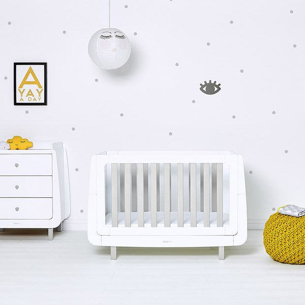 Grey and White Contemporary Wooden Cot Bed