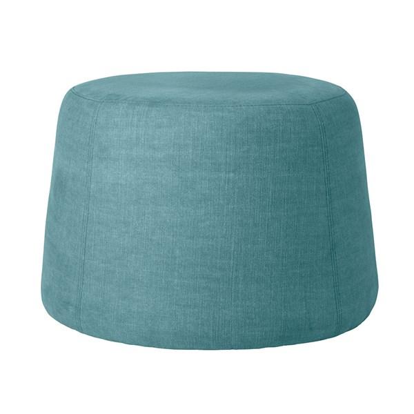 Modern Blue Upholstered Pouf