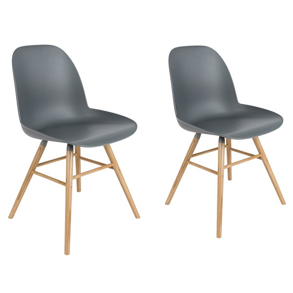 A Pair of Albert Kuip Retro Moulded Dining Chairs in Dark Grey