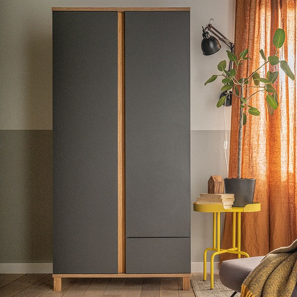 Contemporary Grey and Oak Effect Wardrobe with 2 Doors