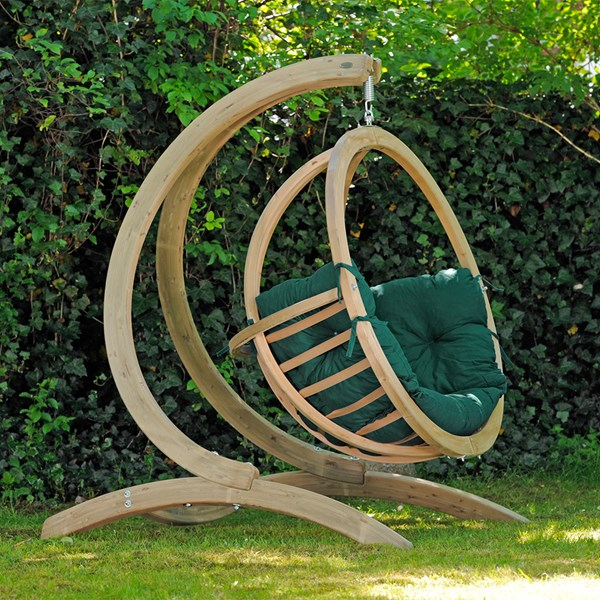 Globo Hanging Chair and Stand in Weatherproof Green