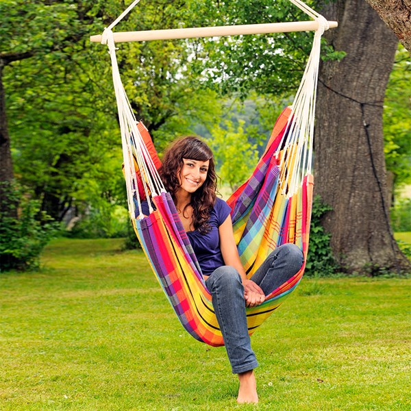 Amazonas Large Woven Garden Swing Chair in Rainbow