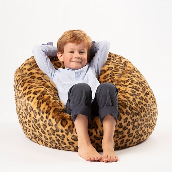 Kids Faux Fur Leopard Bean Bag