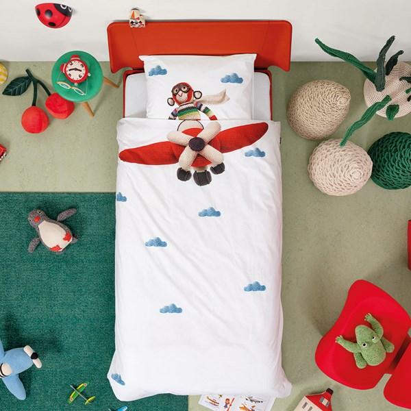Snurk Single Airplane Monkey Duvet Bedding Set