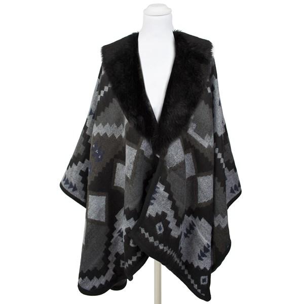Pia Rossini Aztec Cape Faux Fur Wrap in Black & Grey