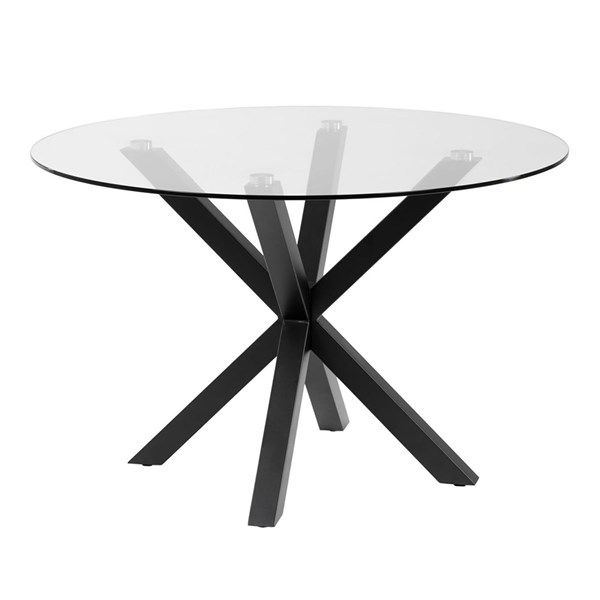 Arya Round Glass Dining Table with Cross Legs
