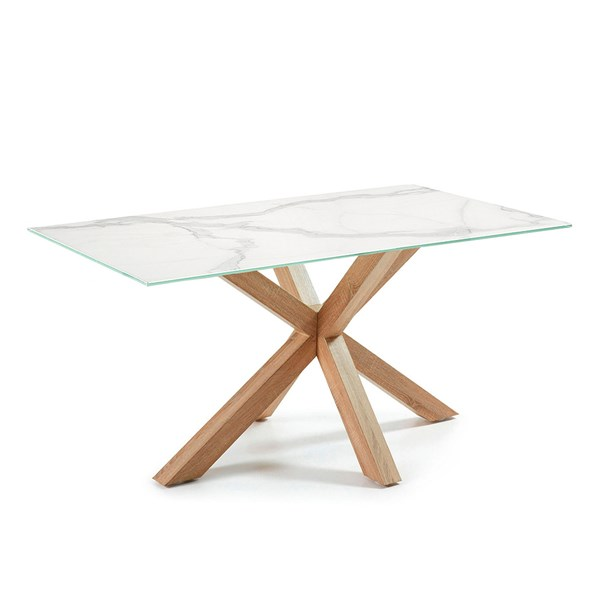 Arya Marble Effect Dining Table with Cross Legs