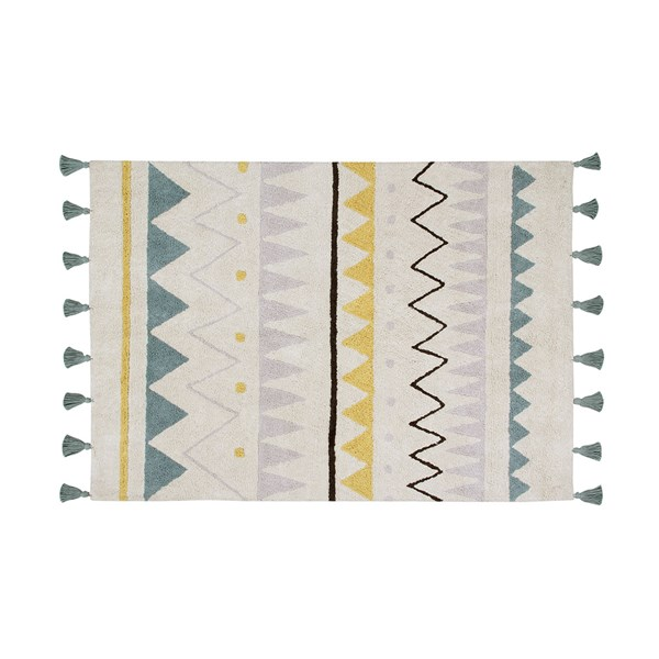 Lorena Canals Azteca Washable Kids Rug in Vintage Blue