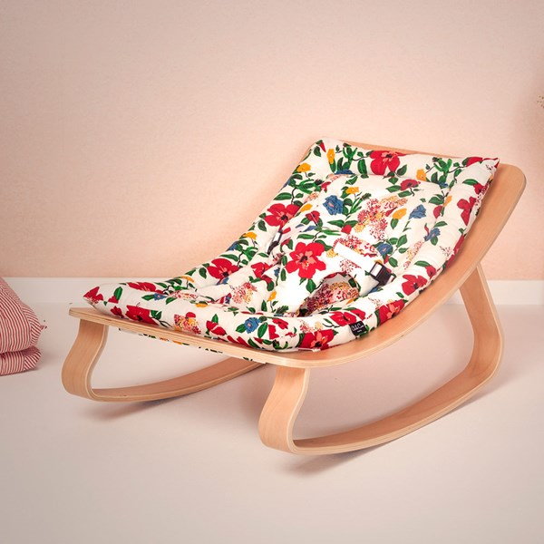 Levo Baby Rocker in Beech Wood with Hibiscus Flower Cushion