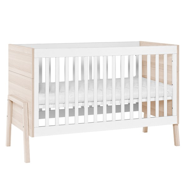 Cot Bed in White and Light Wood Effect