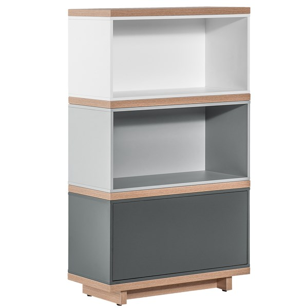 Balance Narrow Modular Bookcase in White and Grey