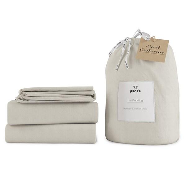 Panda London Coconut White Bamboo & Linen Bedding Set