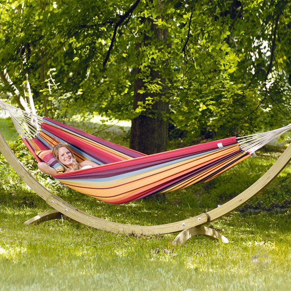 Amazonas Barbados Double Hammock Set in Rainbow