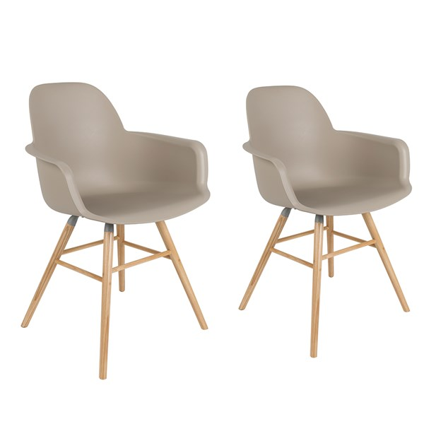 A Pair of Albert Kuip Retro Moulded Armchairs in Taupe