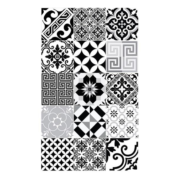 Beija Flor Modern Eclectic Vinyl Floor Mat in Black and White