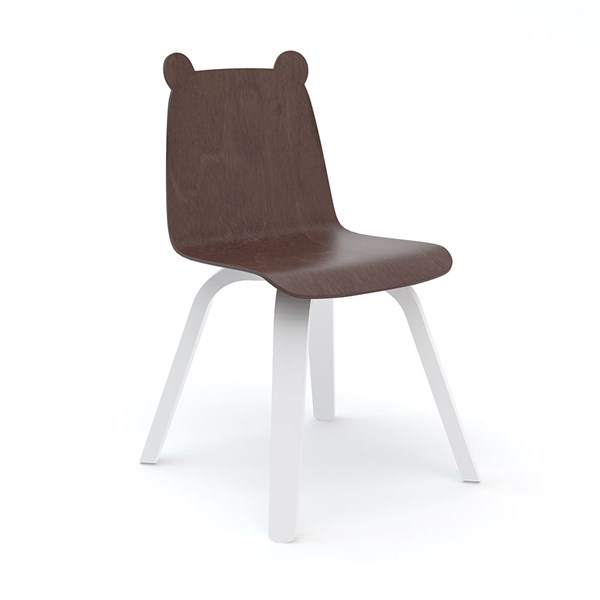 Oeuf Set of 2 Bear Play Chairs in White and Walnut