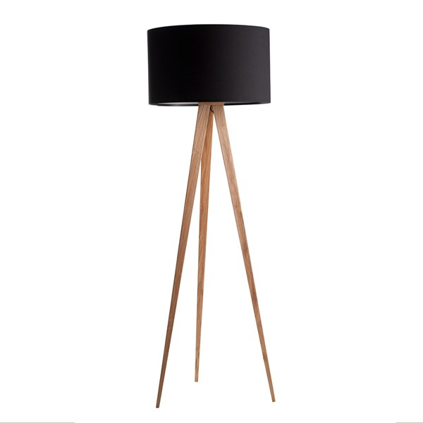 Modern Wooden Lamp with Black Shade