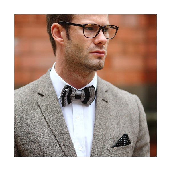 Tyler & Tyler black and Grey bow tie