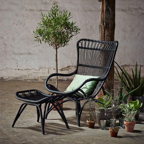 Sika Rattan Monet Wingback Chair in Black