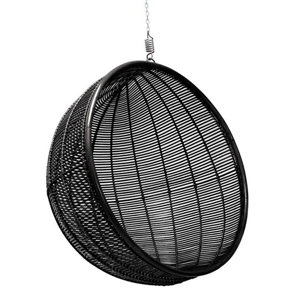 Rattan Indoor Hanging Chair in Black