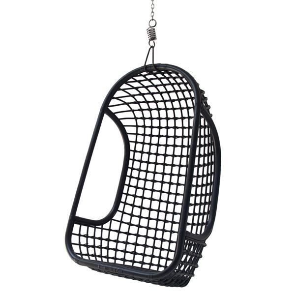 Indoor Rattan Hanging Egg Chair in Black
