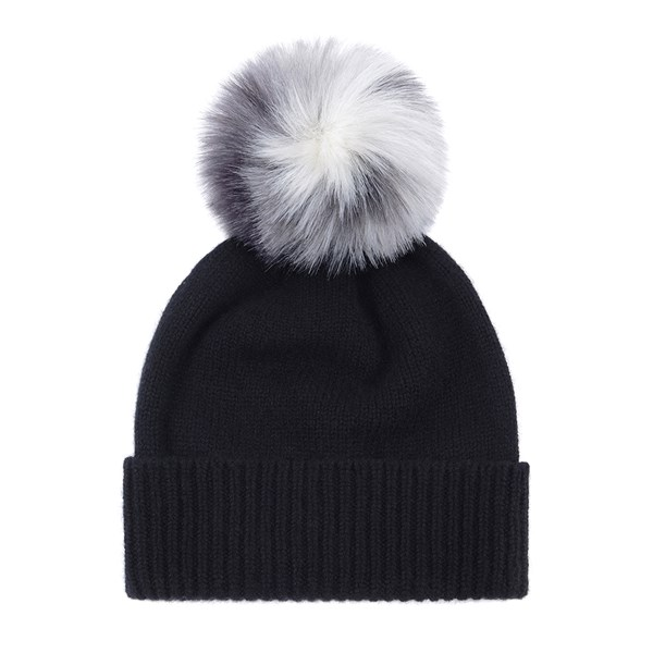 Helen Moore Faux Fur Pom Pom Beanie Hat in Black and Arctic Leopard