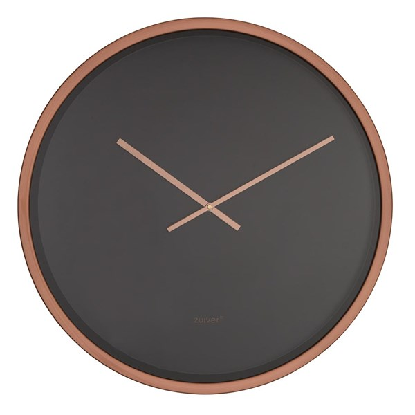 Large Wall Clock in Black and Copper
