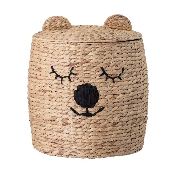 Bloomingville Water Hyacinth Bear Basket with Lid