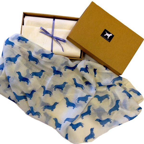 DACHSHUND CASHMERE SCARF in Blue Print by The Labrador Company