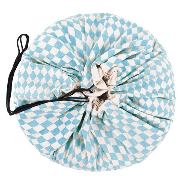 Play & Go Toy Storage Bag in Blue Diamonds Design