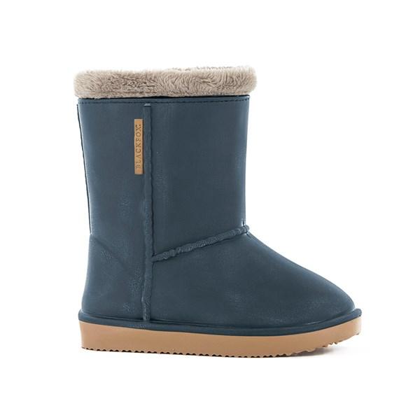 Waterproof Sheepskin Style Kids Snug-Boot Wellies in Blue