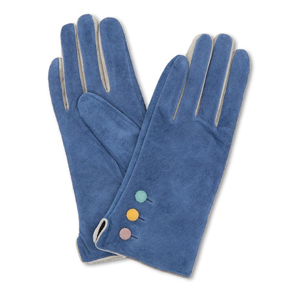 Powder Babette Suede Gloves in Navy and Grey