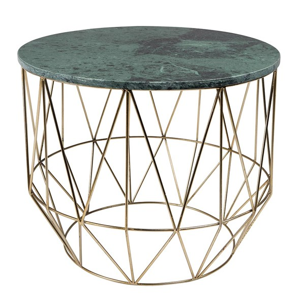 Green Marble Coffee Table with Geometric Base