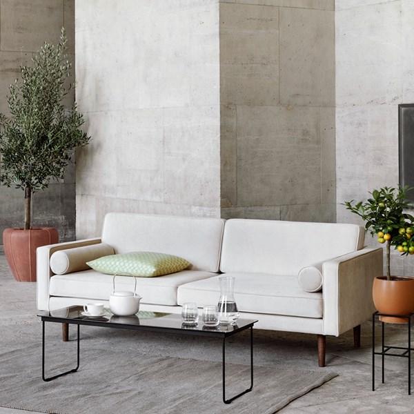 Stylish Cream Velvet Upholstered Sofa