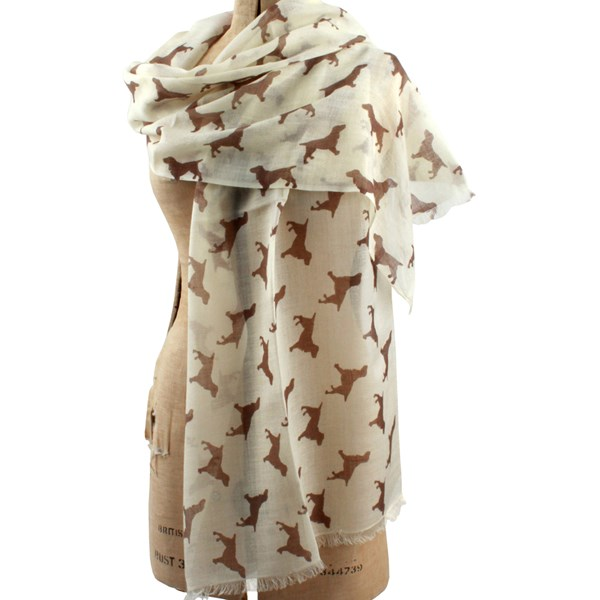 SPANIEL CASHMERE SCARF in Chocolate Print by The Labrador Company