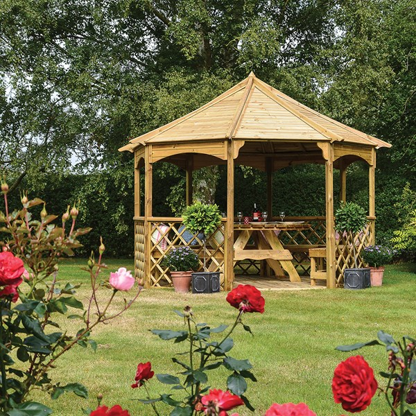 Buckingham Garden Gazebo in Natural Timber